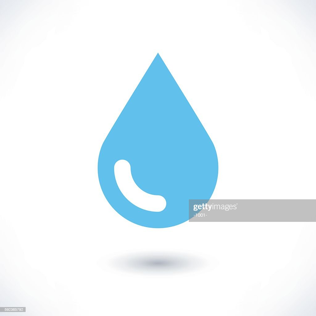 Blue water drop icon with shadow on white