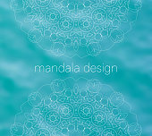Blue water tribal background with white mandalas