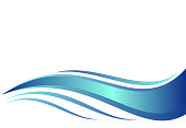 Blue water wave, abstract vector illustration.