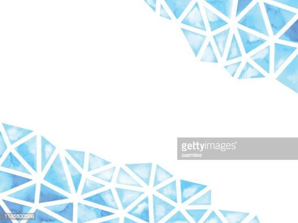 blauer wasserfarben abstrakter geometrischer hintergrund - nass stock-grafiken, -clipart, -cartoons und -symbole