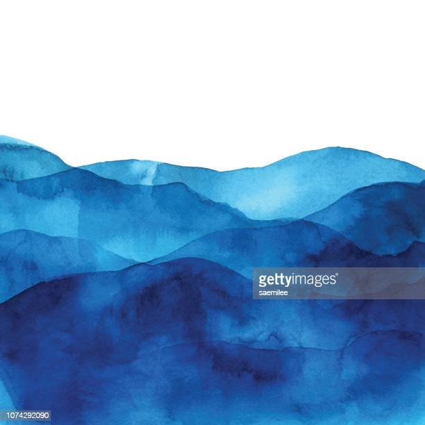 blue watercolor background with waves - blue stock illustrations