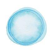 Blue Watercolor Circle Layered