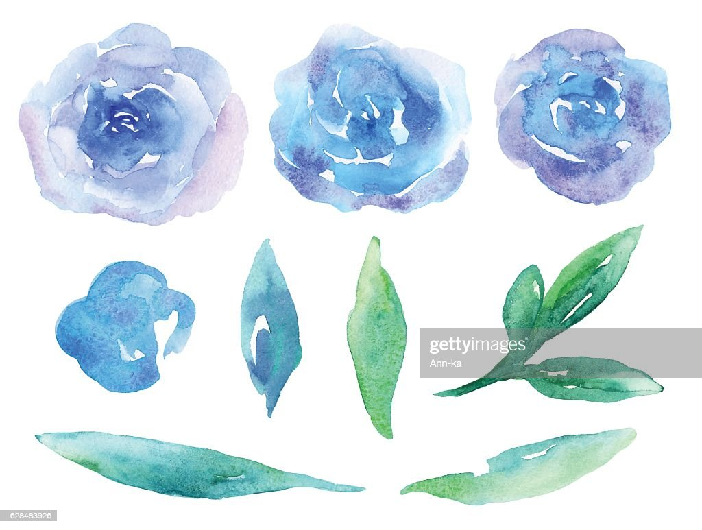 Blue Watercolor Flowers Vector Clipart Stock Illustration