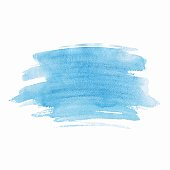 Blue watercolor isolated spot on white background. Hand drawn blue illustration.