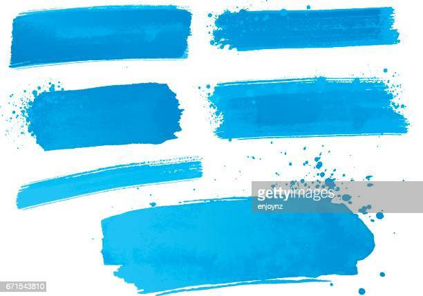 blue watercolor paint strokes