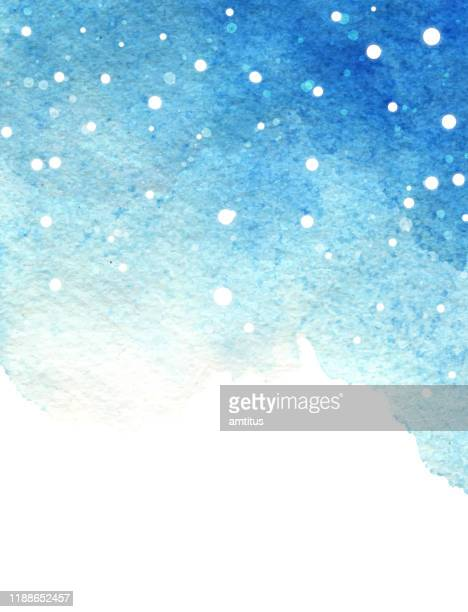 blue watercolor snow xmas - blizzard stock illustrations