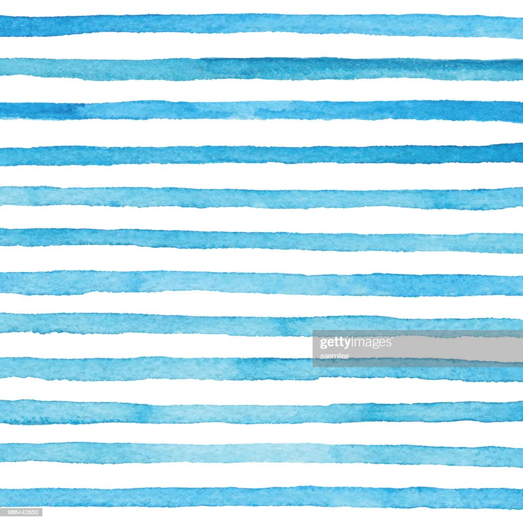 Blue Watercolor Stripes Pattern : stock illustration