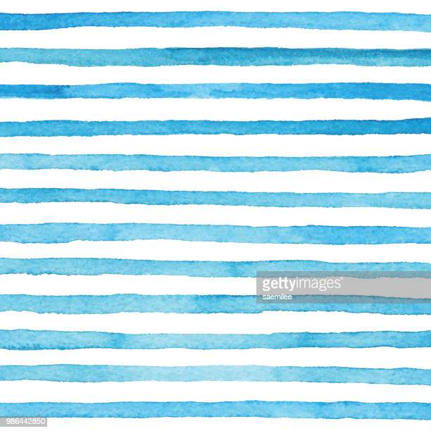 stockillustraties, clipart, cartoons en iconen met blauwe aquarel strepen patroon - zomer