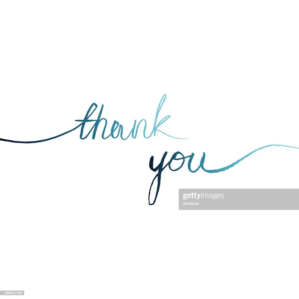 blue watercolor words line on a white background 'thank you'