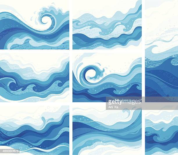 blue waves - water stock illustrations