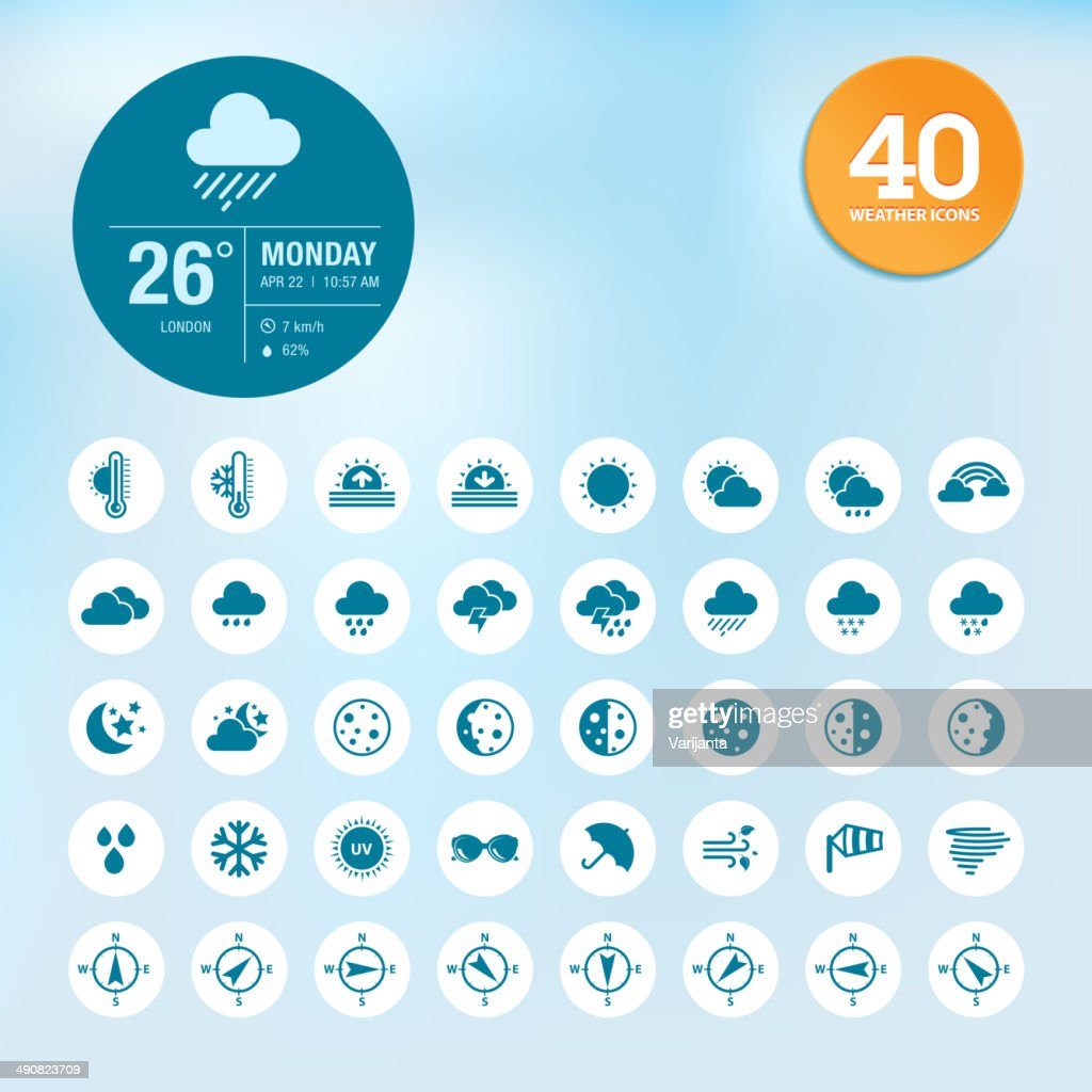 Blue weather forecast icons