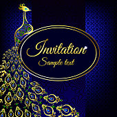 Blue wedding invitation or card with a peacock on abstract background. Islam, Arabic, Indian, Dubai decoration with pattern