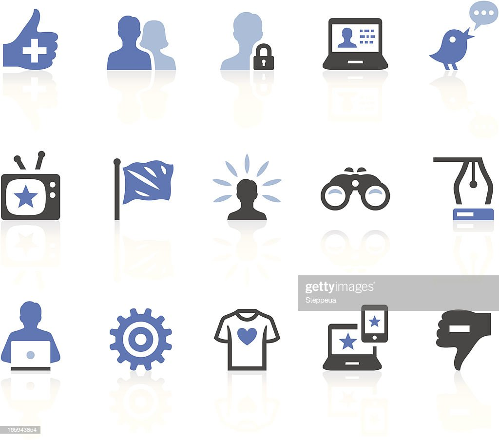 Blue, white and black social media icons on white background