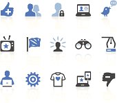 Blue, white and black social media icons on white background
