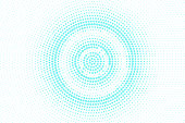 Blue white dotted halftone. Halftone vector background. Concentric circle dotted gradient.