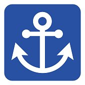 blue, white information sign - anchor icon