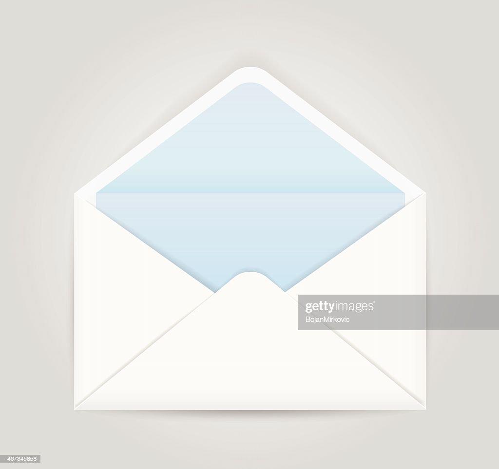 Blue white opened envelope isolated on grey background