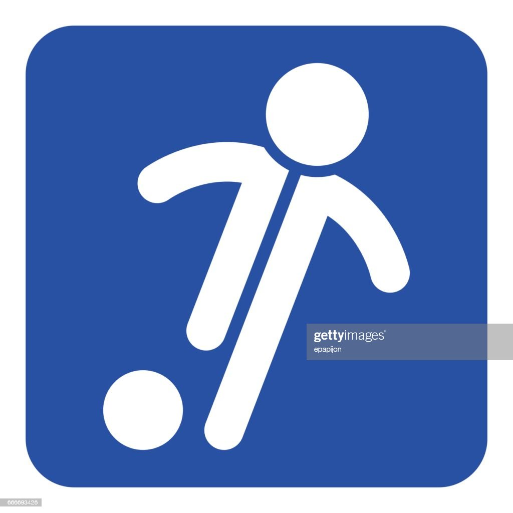 blue, white sign - football, soccer player icon