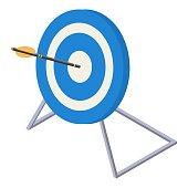 Blue white target icon, isometric style
