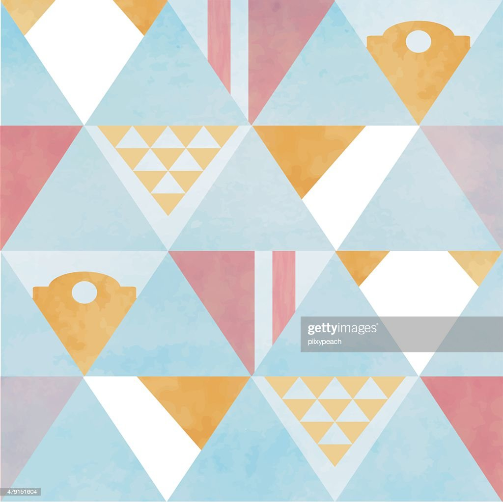 blue white yellow brown red triangle and circle geometric seamle
