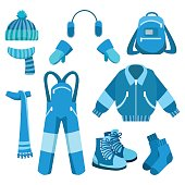 Blue winter clothes collection