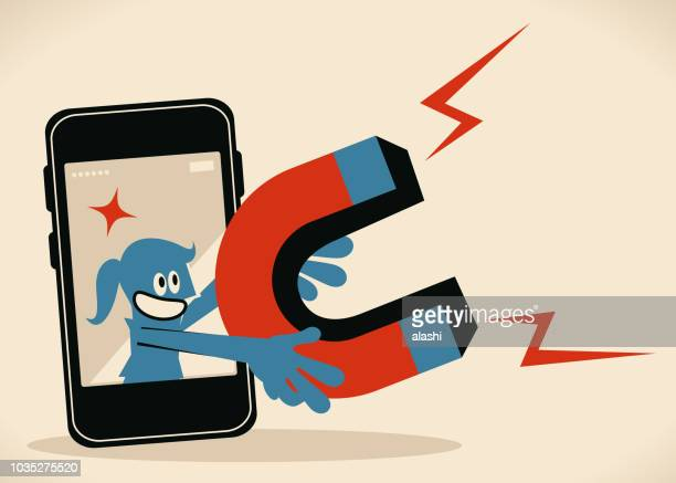 blue woman from smart phone holding big magnet - hashtag stock illustrations
