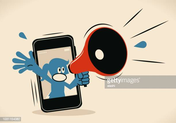 blue woman from smart phone shouting with megaphone - weakness stock illustrations