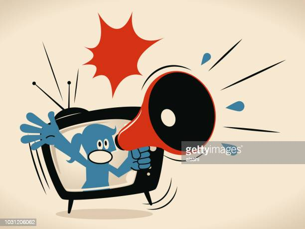 Blue woman from TV screen shouting with megaphone