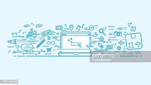 blue workspace with doodle icons - dvd stock illustrations