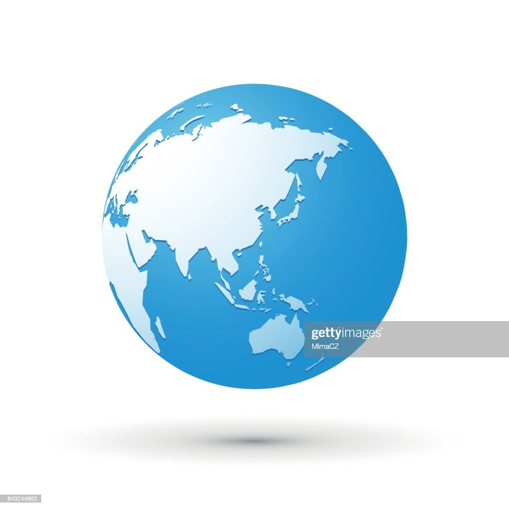 blue world earth globe asia japan internet concept