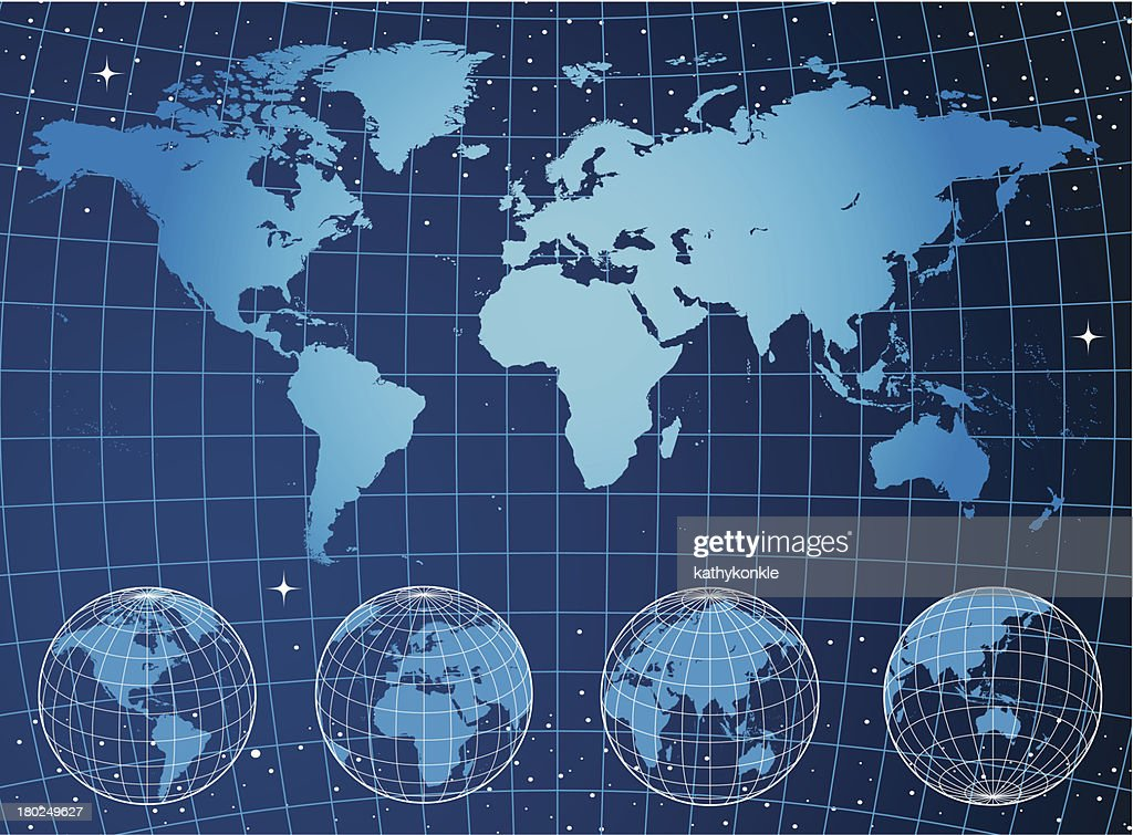 Blue world map and globes on grid in space vector art getty images blue world map and globes on grid in space vector art gumiabroncs Image collections