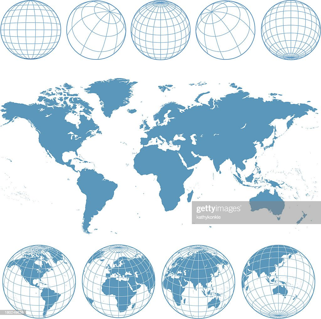 blue world map and wireframe globes : stock illustration