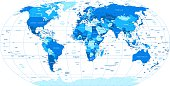 Blue World Map - borders, countries and cities -illustration