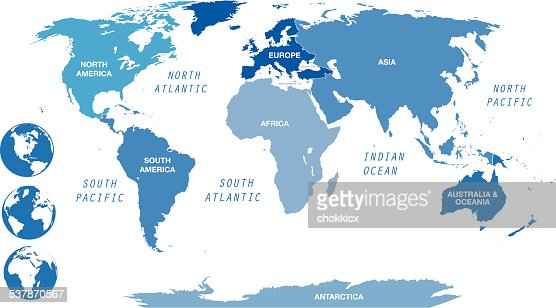 Blue World Map By Continents With Globes Vector Art Getty Images - Map of continents