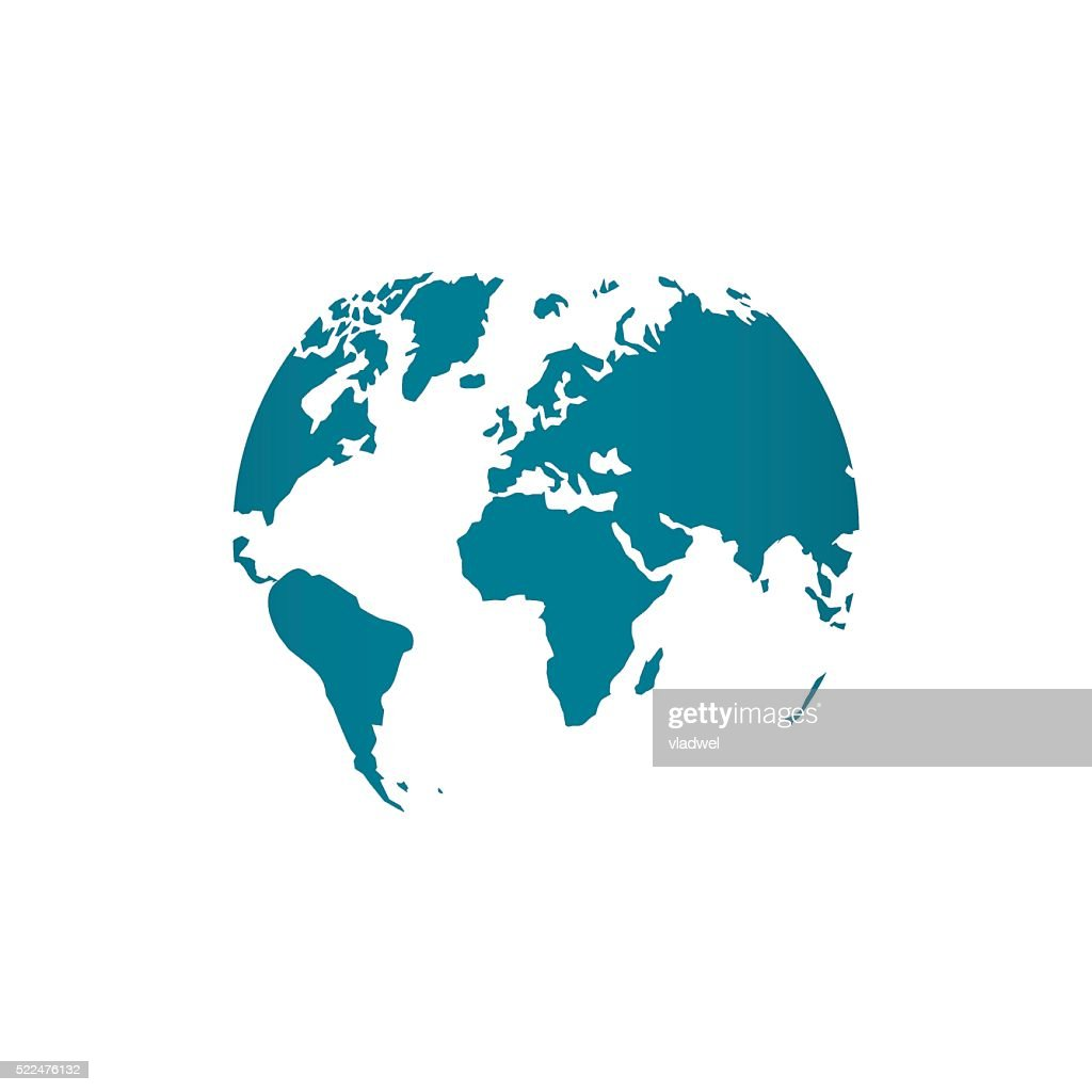 Blue world map globe vector illustration isolated on white