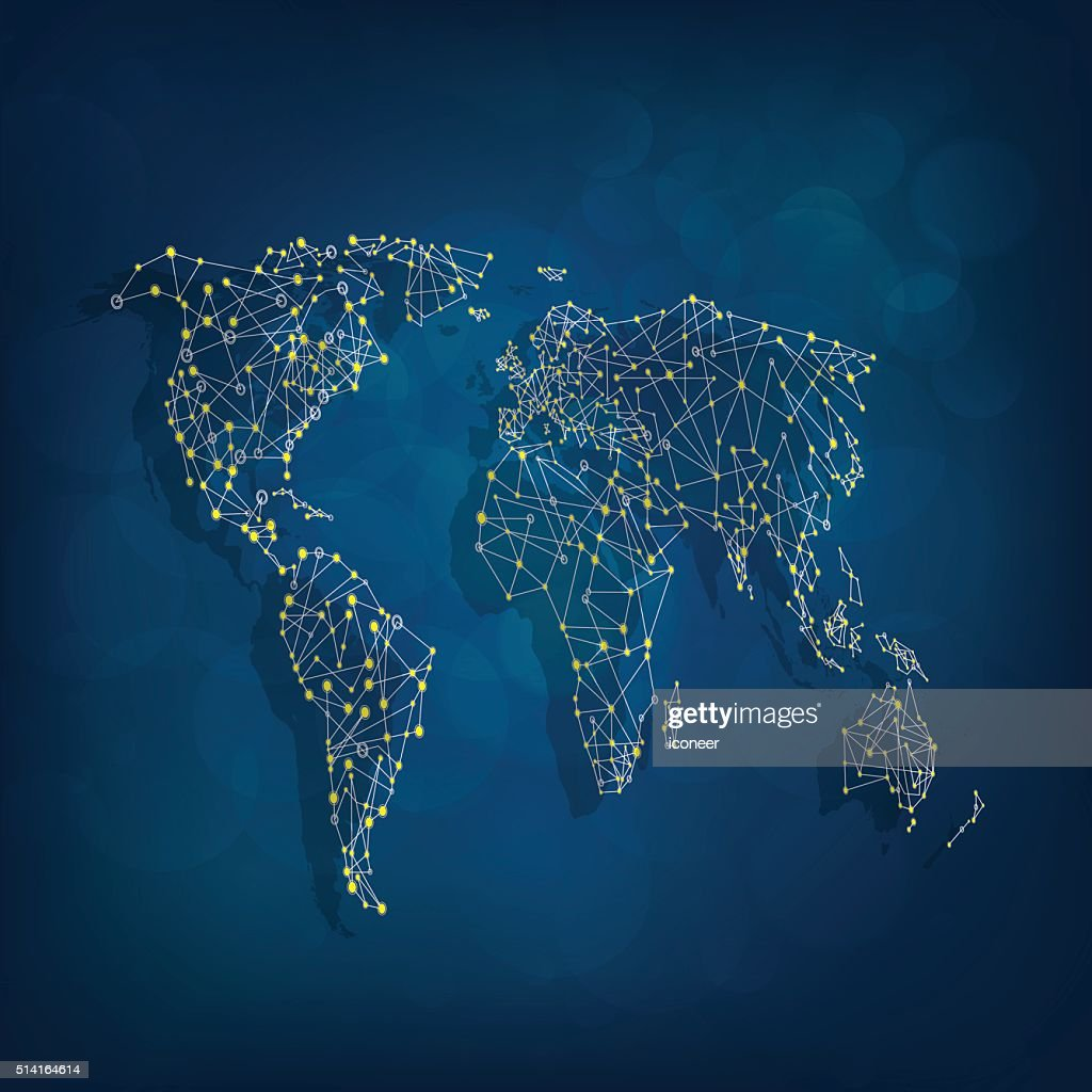 Blue world map in with connections in perspective view vector art blue world map in with connections in perspective view vector art gumiabroncs Images