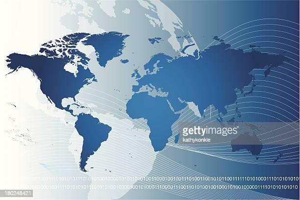 blue world map on a data stream background - latitude stock illustrations
