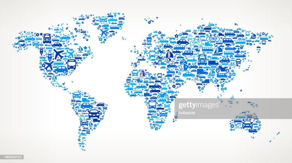Blue world map on transportation interface icon pattern vector art blue world map on transportation interface icon pattern vector art gumiabroncs Images