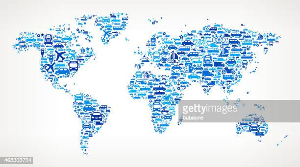 blue world map on transportation interface icon pattern - icon collage stock illustrations