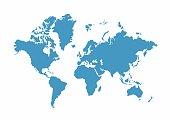 Blue World Map on white background, Vector Illustration