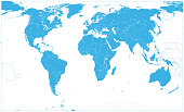 Blue World Map On White. No text