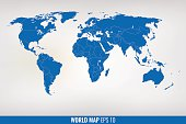 blue world map. vector