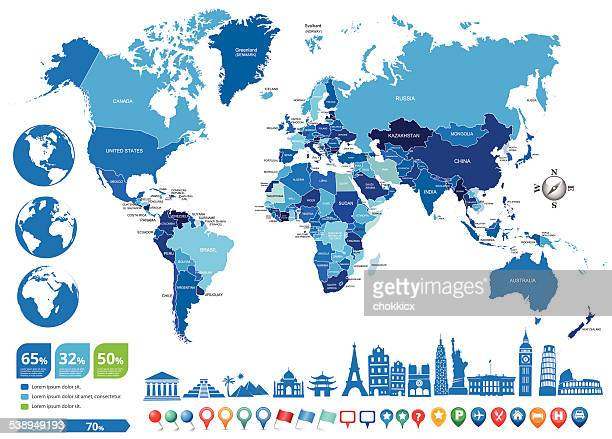 blue world political map with globes and landmarks - world politics stock illustrations