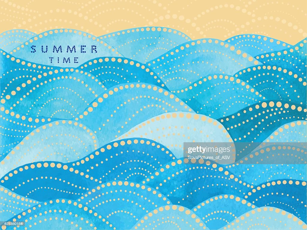blue writing summertime on waves ornament