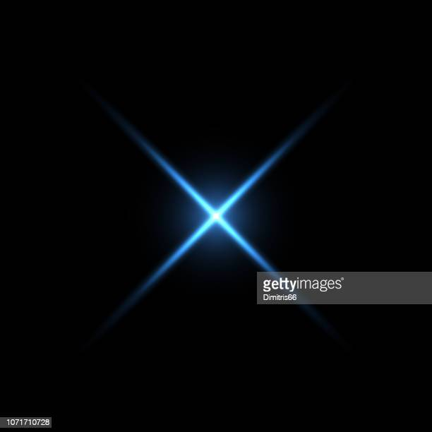blue x shape light on black background - light natural phenomenon stock illustrations, clip art, cartoons, & icons