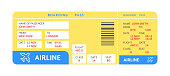 blue yellow air ticket by plane with text