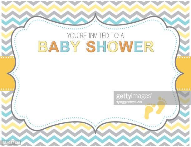 ilustrações de stock, clip art, desenhos animados e ícones de amarelo azul e cinza chuveiro de bebé convite - chadebebe