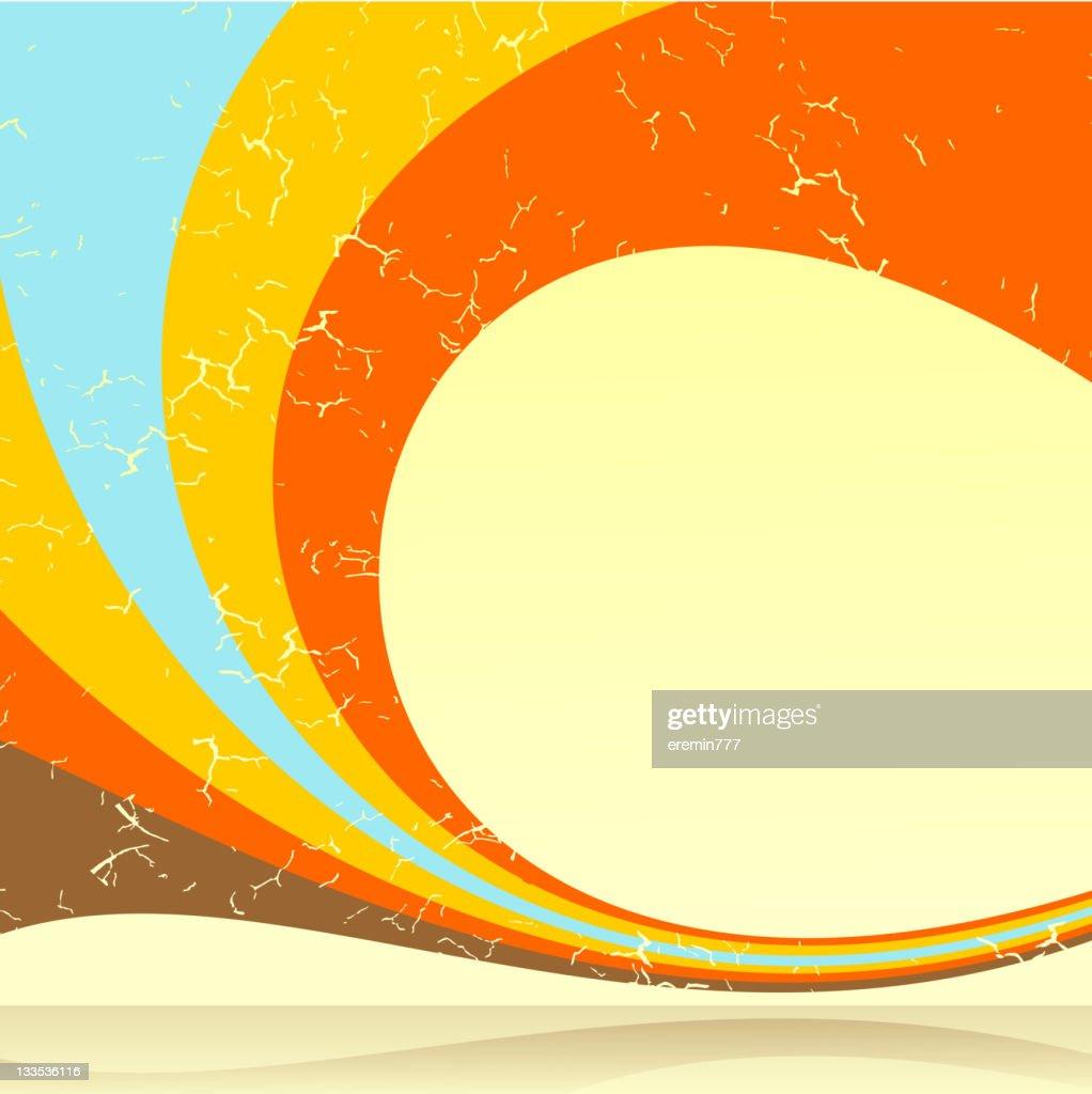 Blue yellow and orange retro swirl background