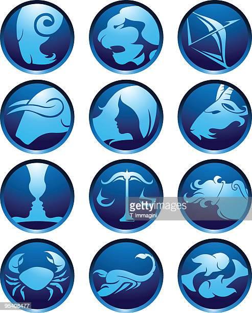 Blue zodiac globes