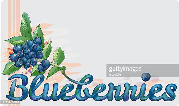 blueberries sign - blueberry stock illustrations, clip art, cartoons, & icons